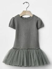 Baby Gap NWT Gray Metallic Gold Star Tulle Skirt Sweater Dress 0-3 6-12 12-18