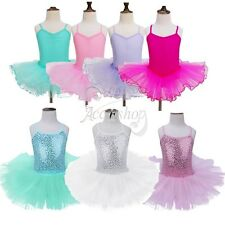 Toddler Kid Girls Gymnastics Leotard Ballet Dancer Tutu Dress Dance Wear Costume