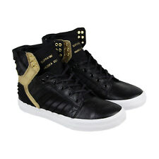 Supra Skytop Evo Mens Black Leather High Top Lace Up Sneakers Shoes