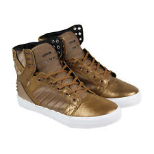 Supra Skytop Evo Mens Gold Leather High Top Lace Up Sneakers Shoes