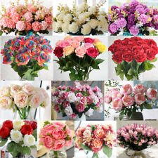 15 HEADS ROSE BOUQUET FAKE SILK FLOWER PARTY HOME WEDDING FLORAL DECOR LOT