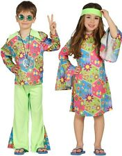 Boys or Girls Green 1960s Hippie Hippy Fancy Dress Costume Outfit 3-12 years