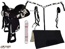 Retails $400 Tahoe Cow Print Synthetic Western Horse Trail Saddle 7 item Set