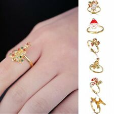Cute Christmas Tree Snowman Deer Crystal Adjustable Finger Rings Woman Jewelry