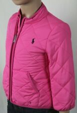 POLO RALPH LAUREN PINK QUILTED COAT JACKET NAVY BLUE PONY NWT