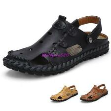 Mens Leather Closed Toe Sandals Casual Shoes Hollow Out Sandals roma Shoes