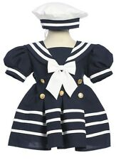 New Baby Toddler Girls Nautical Navy White Sailor Dress w/ Hat Easter Party 161F
