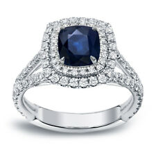 Auriya 18k White Gold 1ct Blue Sapphire and 1ct TDW Halo Diamond Engagement Ring