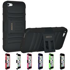 New Amzer Hybrid Rugged Rubber Soft Cover Case w/ Kickstand for Apple iPhone 5C