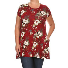 Women's Plus Size Blue/Red/Green/Black Rayon and Spandex Short-sleeve Floral
