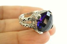 Ornate Purple Amethyst Solitaire 925 Sterling Silver Ring Size 6.25, 7, 8.25