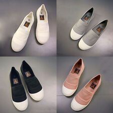 Fashion Women Girls Casual Comfort Canvas Shoes Slip On Trainers Flats Loafers