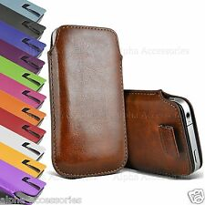 Premium Leather Pull Tab Pouch Case Cover Holster Bag For Various Mobile Phone