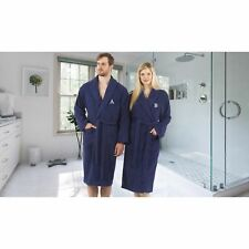 Authentic Hotel and Spa Unisex Navy Blue Turkish Cotton Terry Bath Robe with