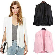 NEW Women OL Lapel Cape Suit Split Sleeves Open Cloak Blazer Casual Coat Outwear