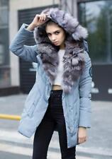 Fashion Women 100% real fur Warm Winter Outwear Hooded Down Parka Coat Jackets