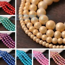Lot Wholesale 4/6/8/10mm Gold/Silver Foil Lacquer Round Loose Spacer Glass Beads