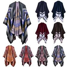 Lady Scarf Sweater Plaid Poncho Cape Poncho Blouse Blanket Cloak Wrap Shawl U9F4