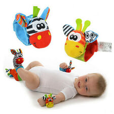 For * Infant Baby Cute Animal Wrist Foot Sock Rattles Soft Developmental Toys