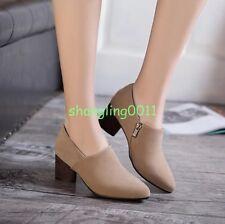 Womens New Fashion Faux Suede Spring Pointy Toe Chunky Heels Zipper Shoes Pumps