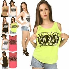 Womens Ladies Graphic Print Sleeveless Teenage Advisory Printed Vest Top T-Shirt