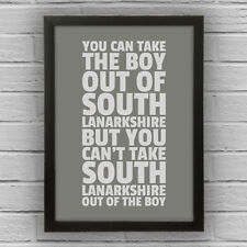 SOUTH LANARKSHIRE - BOY/GIRL FRAMED WORD TEXT ART PICTURE POSTER