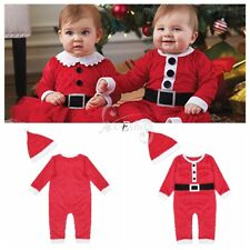 Infant Baby Boy Santa Cosplay Outfit Toddler Xmas Romper Hat Set Clothes Costume