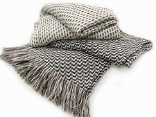 Alpaca & Wool Throw Blanket - A Beautiful Geometric Throw -  No Synthetics