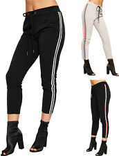 Womens Racer Side Striped Stretch Pocket Trousers Pants Ladies Jogging Bottoms
