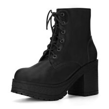 Women Chunky Heel Platform Lace Up Ankle Combat Boots