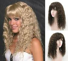 80'S WOMEN LONG SOFT S-WAVE CURLS CURLY HAIR W/ BANGS SKIN TOP WIG MORGAN HELENA