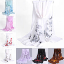 Fashion Women Floral Chiffon Soft Neck Scarf Shawl Scarves Long Stole Wraps L141