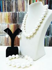 Set Womens 14mm Round South Sea Shell Pearl Necklace Bracelet Earring Jewelry