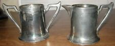 "ANTIQUE SILVER PLATED SUGAR BOWL CREAMER MARKED ""1702"""