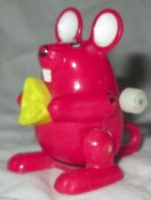 Vintage Tomy Hard Plastic Wind Up Mouse with Cheese Toy