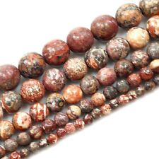 "Natural Leopard Skin Jasper Spacer Loose Round Beads 15"" 4 6 8 10mm"