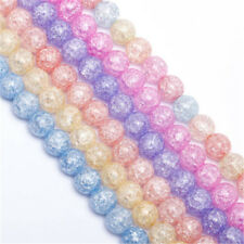 1Strand 4-12mm Round Crackle Crystal Glass Beads Loose Spacer Charm Findings New