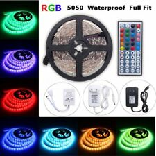 5M RGB 5050 Waterproof LED STRIP LIGHT SMD 44 KEY REMOTE US 12V POWER Full Kit