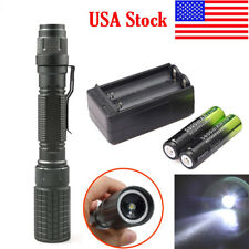 Tactical 20000Lumens Lamp T6 LED Flashlight Torch Light Lamp 2x 18650 Charger
