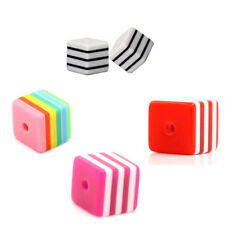 "Resin Spacer Beads Cube Striped 8mm x 8mm( 3/8""x 3/8"") M1253"