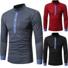Men Stand-up Collar Color Block Long Sleeve T-Shirt Casual Slim Fit Top Sanwood