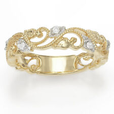 Sterling Silver plated Yellow Gold 0.11 Cttw Diamond Ring