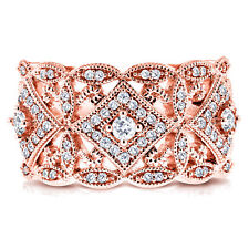 Annello 10k Rose Gold 1/2ct TDW Diamond Antique Filigree Wide Anniversary Ring