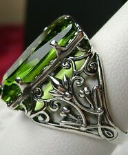 7ct Baguette *Peridot* Sterling Silver Victorian Filigree Ring {Made To Order}