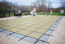 HPI Rectangle TAN MESH In-Ground Swimming Pool Safety Cover-12 Year Limited WTY