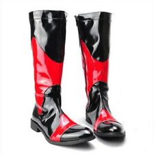 Mens Faux Leather Side Zip Knee High Boot Punk Pointy Toe Motorcycle Cool Shoes