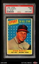 1958 Topps #476 Stan Musial - All-Star Cardinals PSA 7 - NM