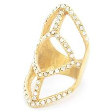 Crystal  Midi  Long Finger Ring Hollow Geometric Patterned Gold Jewelry