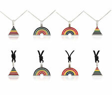 Lovely Rainbow Gay Marriage LGBT Silver Pewter Charm Necklace Pendant Jewelry