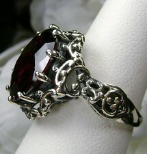 10ct Round *Garnet* Solid Sterling Silver Gothic Filigree Ring {Made To Order}